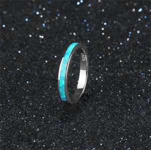 Blue Fire Opal Sterling Silver Ring