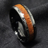 Product Exchange Page for - Black Tungsten Carbide Koa Wood Inlay Ring