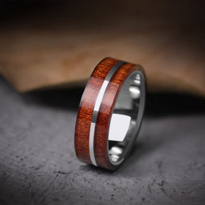 Stripe Tungsten Carbide Koa Wood Inlay Ring