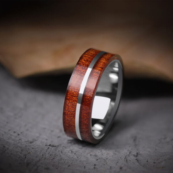 Product Exchange Page for - Stripe Tungsten Carbide Koa Wood Inlay Ring