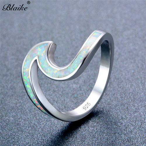 Fire Opal Ocean Wave Rings Sterling Silver