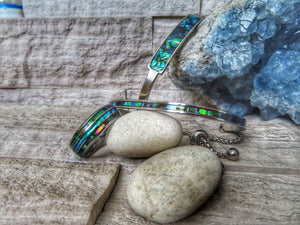 Opal and Abalone Shell Drawstring and Cuff Bracelet Bundle