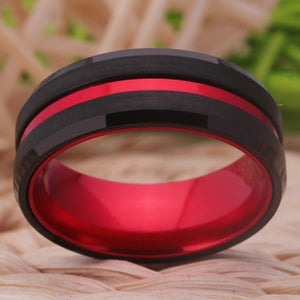 Thin Red Line Tungsten Ring
