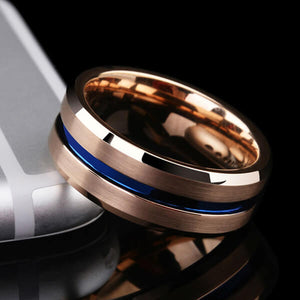 Rose Gold with Thin Blue Groove Tungsten Carbide Ring