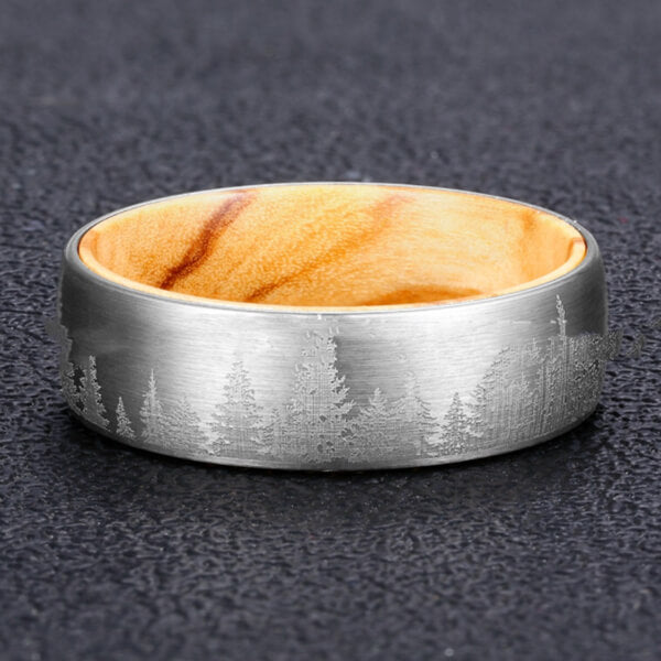 Product Exchange Page for Pine Wood Polished Tungsten Ring