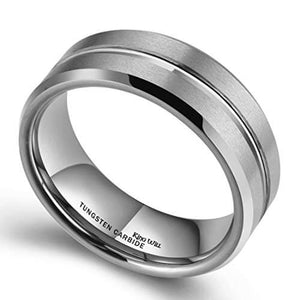 Product Exchange Page for Double Brushed Silver Stripe Tungsten Ring