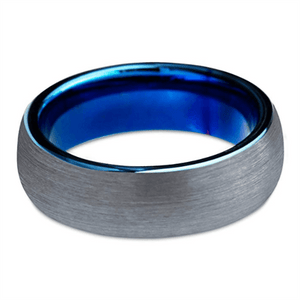 Product Exchange Page for Brushed Tungsten Inner Blue Inlay Ring
