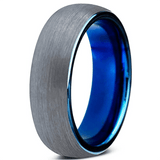 Brushed Tungsten Inner Blue Inlay Ring