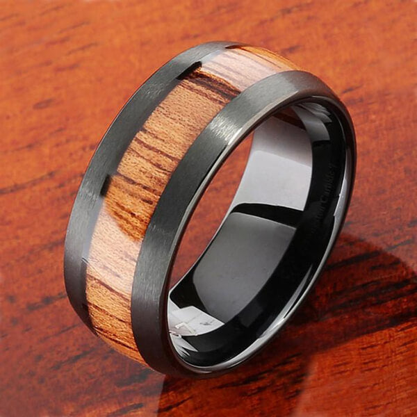 Product Exchange Page for Black Brushed Koa Wood Tungsten Ring