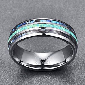Product Exchange Page for Opal and Abalone Tungsten Carbide Ring