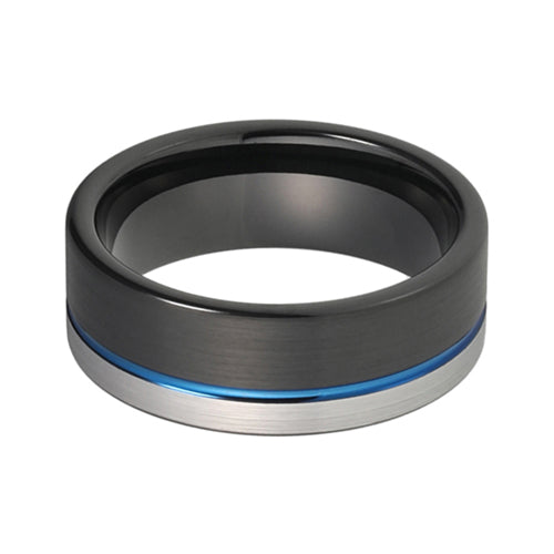 Product Exchange page for - Brushed Black and Blue Tungsten Ring