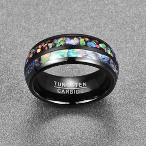 Product Exchange Page for Electroplated Black Inlaid Shell Tungsten Carbide Ring