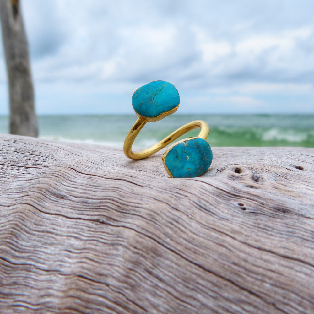 Turquoise and Gold Wrap Ring