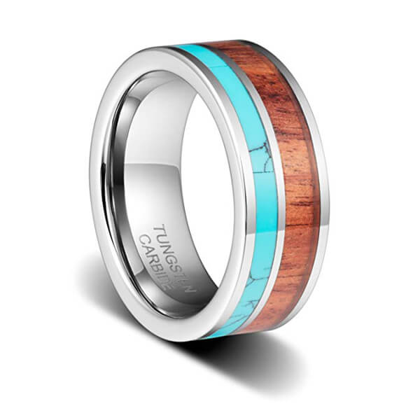 Koa Wood 8mm Width Tungsten Carbide Ring with Blue Stone Inlay