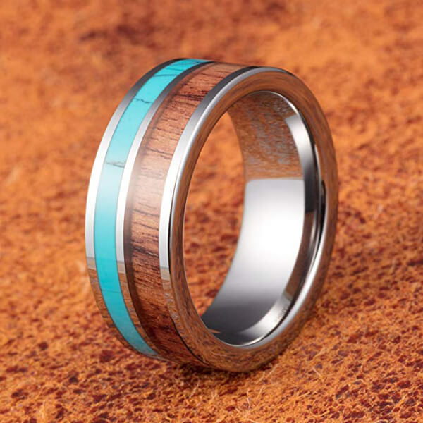 Product Exchange Page for Koa Wood 8mm Width Tungsten Carbide Ring with Blue Stone Inlay