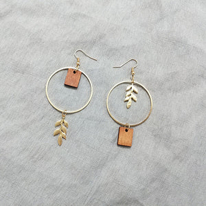 Wood Leaves Earrings