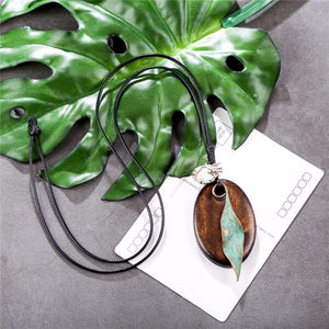 Vintage Leaf and Wood Pendant