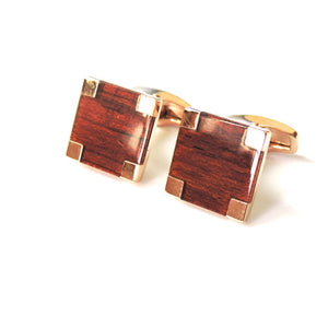 Square Wood Rosegold Cufflinks