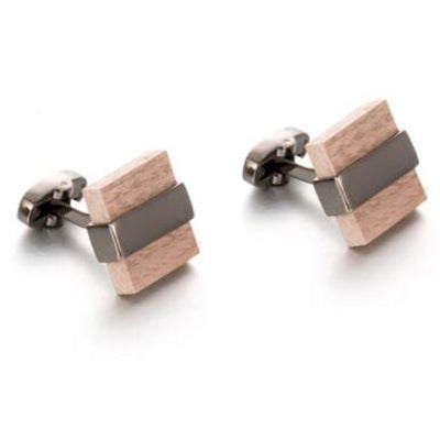 Square Wood Black Plated Cufflinks