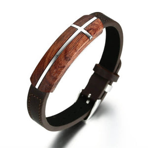 Rosewood Leather Cross Bracelet