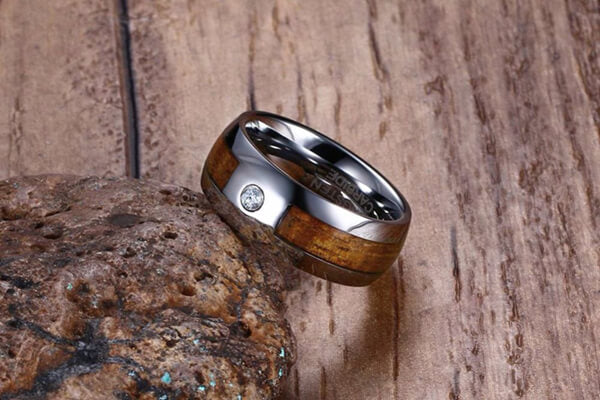 Zirconia Tungsten Koa Wood Inlay Ring