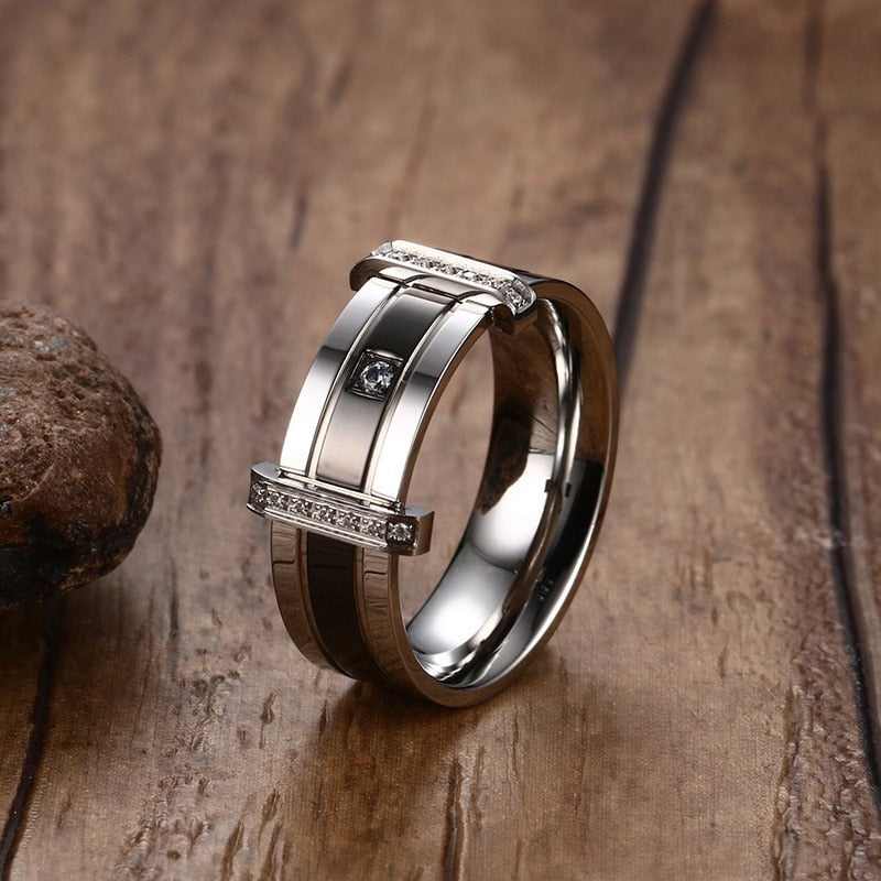 Cubic Crystal Engagement Tungsten Carbide Ring