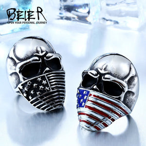 [Limited Edition] REBEL™ American Flag Stainless Steel Skull Ring Biker Jewelry