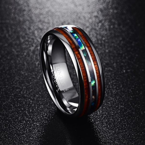 Hawaiian Koa Wood and Abalone Shell Tungsten Carbide Custom Made Rings