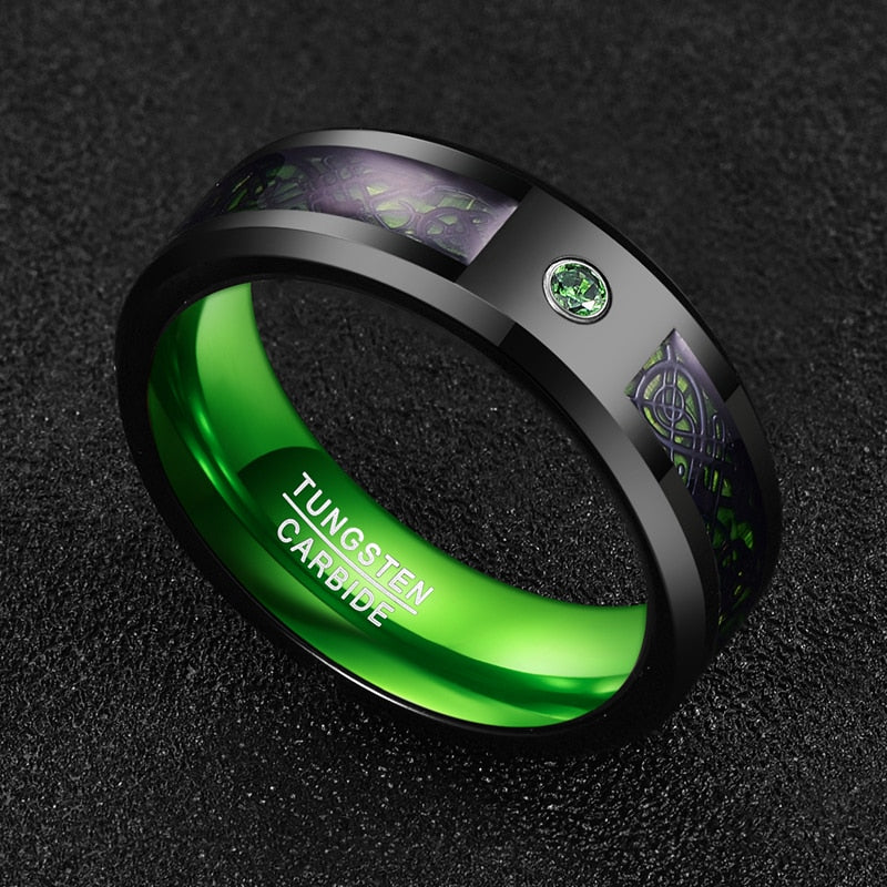Green Carbon Fiber Zircon Tungsten Carbide Ring