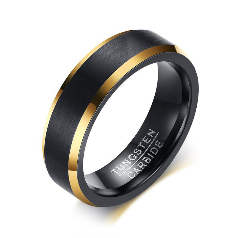 Dark Brushed Double Gold Tungsten Ring