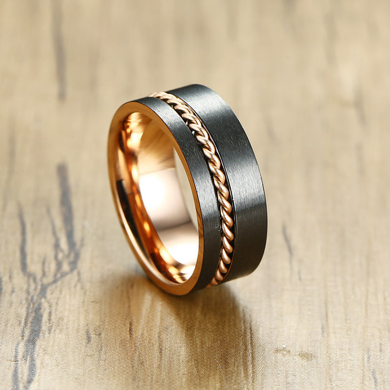 Rose Gold Chain Tungsten Ring