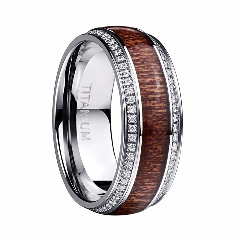 Product Exchange Page for - Crystal Tungsten Polished Wood Grain Ring