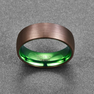 Plated Green Dome Wedding Band