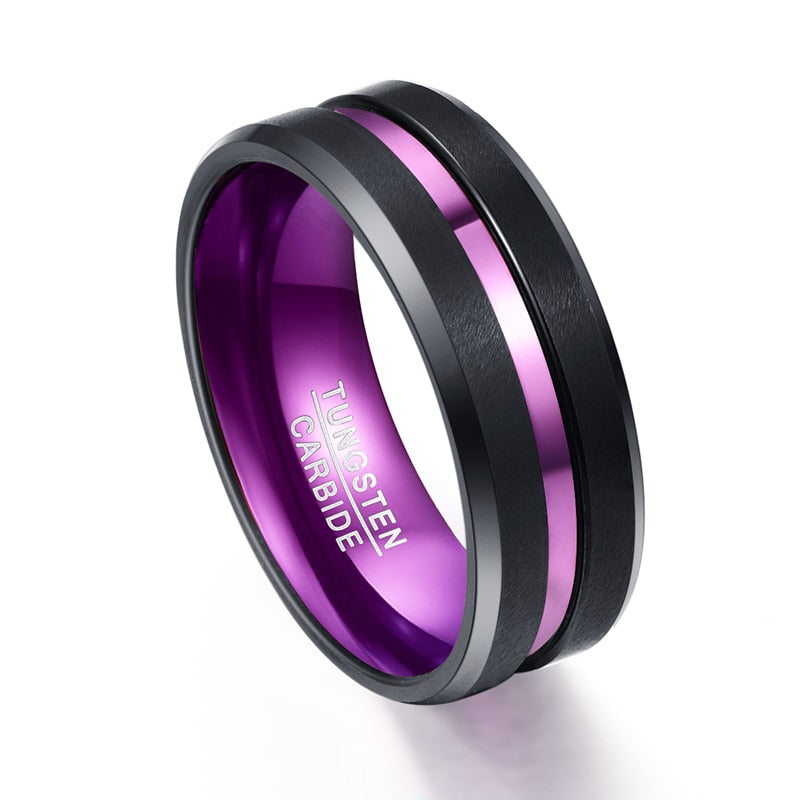 Product Exchange Page for - Thin Purple Groove Tungsten Carbide Ring