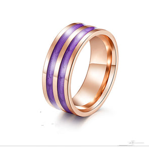 Stainless Steel Rubber Rose Gold Multi-color Ring