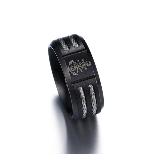 Engraved Rudder Stainless Steel Ring