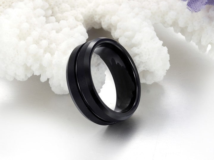 Black Thin Line Tungsten Carbide Ring