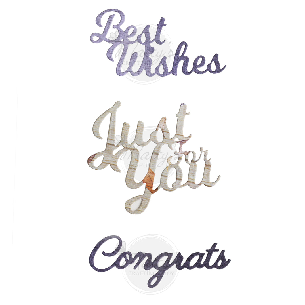 Congratulations Cutting Die Set of 3, Best Wishes, Just for You ...