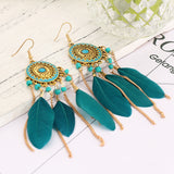 Bohemian Feather Drop Earrings