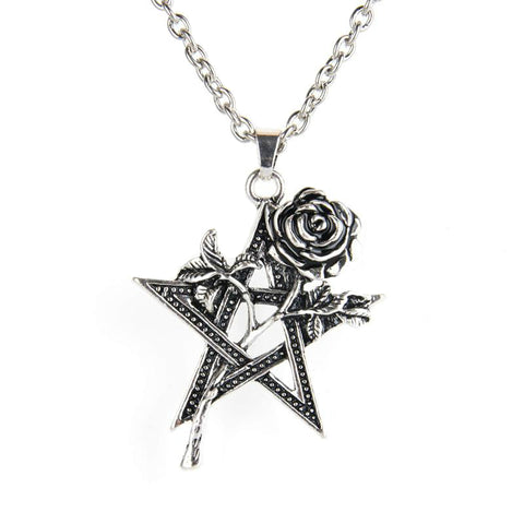 Pentagram in Roses Necklace