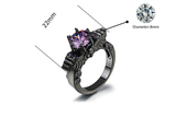 Purple Gemstone Winged Skull Ring
