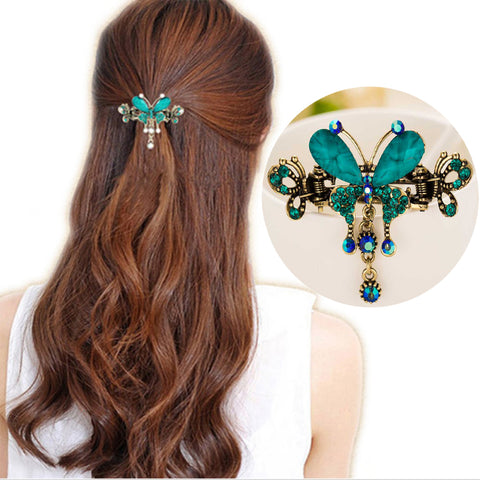 Jade Butterfly Hair Clips