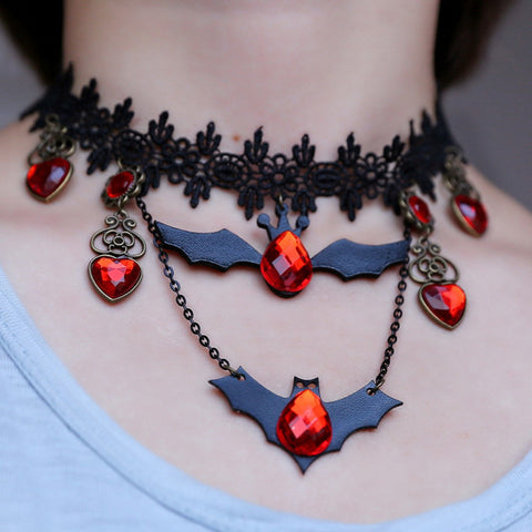 Jeweled Vampire Bat Necklace + Earrings Collection
