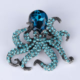 Crystal Octopus Brooch
