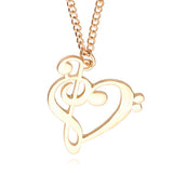 Treble/Bass Clef Heart Pendant Necklace