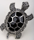 Handcrafted Crystal Turtle Ring
