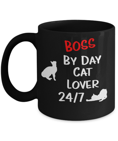 "Gift for Cat Lover Boss  Boss Gift, ""Boss by Day, Cat Lover 24/7"" Funny Novelty Coffee Mug Perfect Birthday Mug, Anniversary Mug, Gift Mug for your  cat lover Employer or Boss"