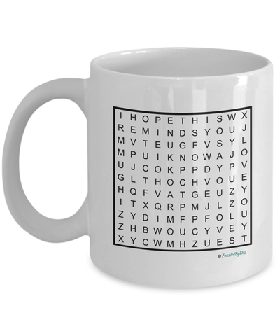 "PuzzledByThis Word Finder Mugs   ""Happy Birthday Mom I know you love puzzles I hope this mug reminds you of me Love you"" Word Search Happy Birthday Gift Mug for Mom"