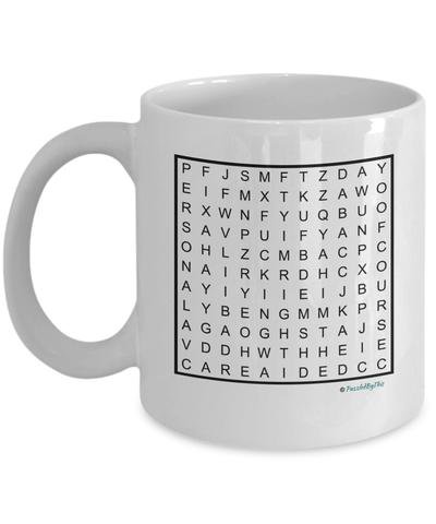 "PuzzledByThis Word Finder Mugs  ""Of Course I'm Right I'm The Fucking Personal Care Aide"" Word Search Gift Mug"