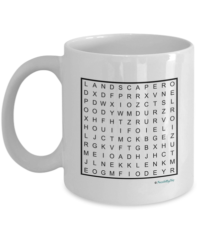 "PuzzledByThis Word Finder Mugs  ""Of Course I'm Right I'm The Fucking Landscaper"" Word Search Gift Mug"